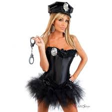 sophisticated police woman corset halloween costume along