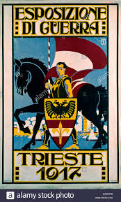 Austro Hungarian Flag Esposizione Di Guerra Krieg Ausstellung Plakat 1917 Triest