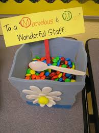 some lovely ideas for thanking staff members or classroom helpers