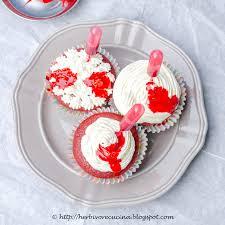 gory halloween cakes herbivore cucina spooky red velvet cupcakes