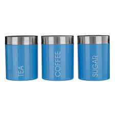 tea coffee sugar storage jars canisters set blue colour enamel
