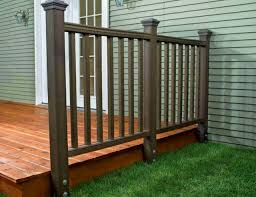 wood deck railing with metal balusters home design ideas