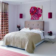 elegant bedroom for girls with big headboard also flowers painting