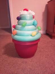 Easy Giant Cupcake Decorating Ideas Giant Cupcake Decoration Plastic Flower Pot Two Pool Noodles