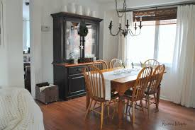 rustic maple winter dining room and vintage agricultural ironstone