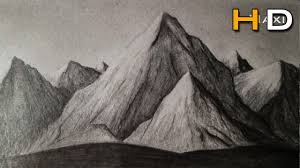 how to draw mountains whith pencil step by step drawing landscape