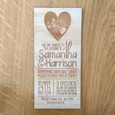 rustic wedding invitation floral heart design laser etched