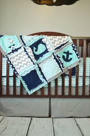 Blue And Green Crib Bedding Sets Nautical Crib Bedding Boats Whales U0026 Anchors Aqua Navy And
