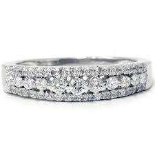 white gold band 1 3ct genuine diamond womens anniversary wedding ring 14k white