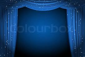 Movie Drapes Red Curtains Light Background With Glittering Stars Open Curtains