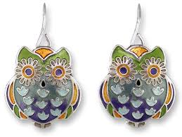 owl earrings zarlite wide eyed owl earrings
