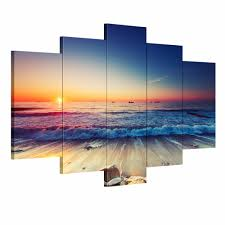 shopping online for home decor 5 pieces modern wall art canvas printed painting decorative sunset