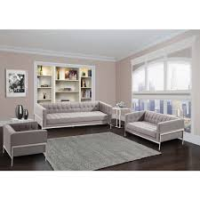 contemporary livingroom armen living andre contemporary sofa grey tweed and stainless