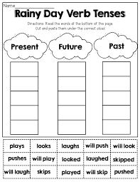 verb tenses cut and paste 1st grade activities pinterest