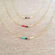 tiny necklace chain images Minimalist gold delicate necklace with tiny beads dainty thin jpg