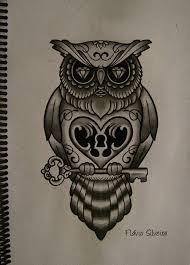 perfect owl heart lock key tattoo design tattooshunter com
