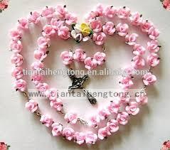 pink rosary handmade catholic rosary necklace beautiful pink soft cerami