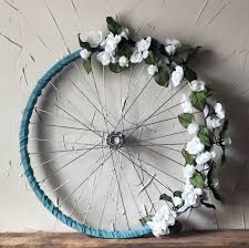 bicycle wheel wreath rustic white roses upcycled home