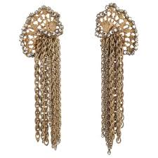 Cascading Bead Chandelier Earrings Express Gilt Rose Montes And Chain Drop Earrings Miriam Haskell 1950s
