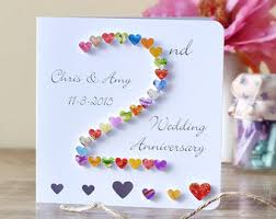 second year wedding anniversary 2nd anniversary card etsy
