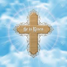 he is risen easter greeting card with wood cross and sun rays in