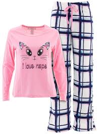 cat naps pink fleece pajamas for juniors