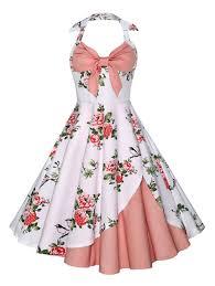 dress pink vintage dresses pink m halter floral vintage dress gamiss