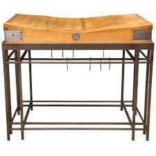 kitchen butcher block islands with seating sloped ceiling