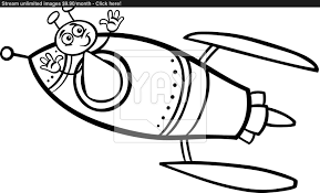 alien in rocket cartoon coloring page vector yayimages com