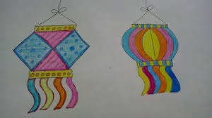 draw and colour diwali lamps kandil how to craftlas youtube
