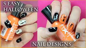 cute halloween nails 5 easy halloween nail art designs for beginners youtube