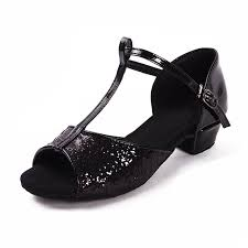 Comfortable Heels For Dancing Aliexpress Com Buy Black Glitters Low Heel Comfortable Ballroom