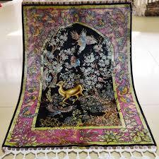 mingxin 2x3ft tree deer design iran silk carpet prayer rug