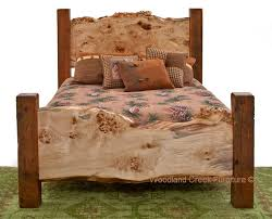 Barn Wood Bedroom Furniture Our Barn Wood Bed With Live Edge Burl Wood Slabs Makes A Statement