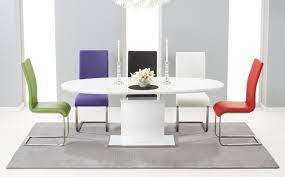 oval and round high gloss dining table sets