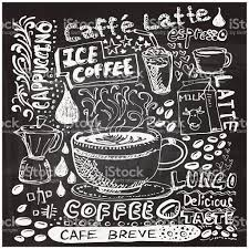 coffee elements sketch in black and white stock vector art