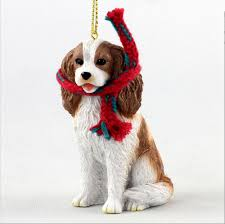 cavalier king charles ornament scarf figurine brown