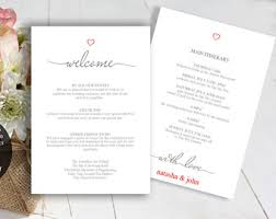 wedding itinerary template for guests wedding itinerary etsy