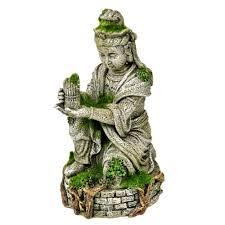 blue ribbon ancient buddha statue with moss aquarium ornament fish