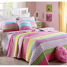 Cotton Bed Linen Sets - amazon com girls pink and pastels cotton quilt set full queen