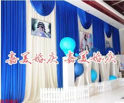 Blue Swag Curtains 3m 6m Silk Royal Blue Swag White Wedding Backdrop Curtains