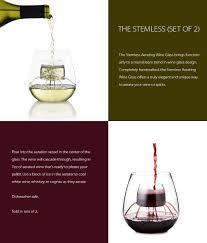 stemless aerating wine glass set of 2 apollobox