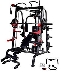 smith machine bench preacher leg ext 120 kg olympic plates