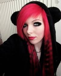 article emo girls red highlights and black hair