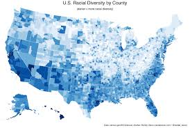 usa map just states the 5 u s counties where racial diversity is highest and lowest