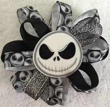skellington ribbon hair bow 3 1 2 wide flower skellington ribbon