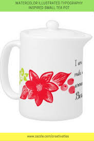 home decor gifts for mom red and green watercolor flowers on white teapot decorating and