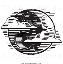 clipart of a crescent moon on halloween black and white sketch by