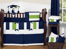 Crib Bedding Blue Navy Blue And Lime Green Stripe Baby Bedding 9pc Crib Set By