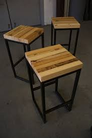 Metal And Wood Bar Stool Steel And Pieces Of Reclaimed Wood Bar Stools Love The Lines And